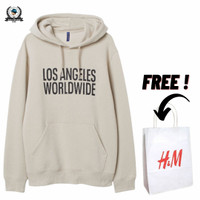 Hoodie H&M Los Angeles World Wide Cream Full Tag Free Paper Bag - Cream, M