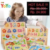 Puzzle Kayu / Puzzle Kayu Knob Premium / Mainan edukasi / Puzzle Angka
