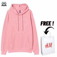 Hoodie H&M Mickye Disney Pink Full Tag Free Paper Bag - Pink, M