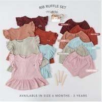 Mooi Setelan Anak Perempuan Rib Ruffle Set