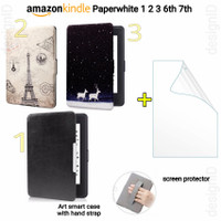 Art case + screen protector kindle paperwhite 1 2 3 6th 7th gen cover