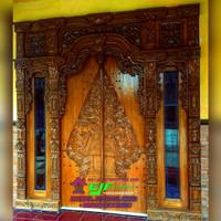 pintu Rumah Kayu Jati Ukir Gebyok Jepara Model Terbaru Mewah