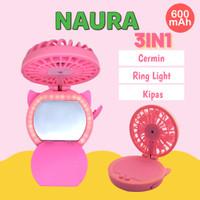 Naura Mini Fan Mirror LED - Kipas Angin Portable 49-073
