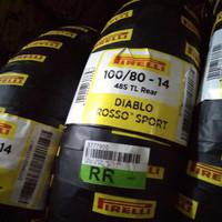 BAN LUAR MOTOR PIRELLI DIABLO ROSSO SPORT UKURAN 100/80-14 TUBELES