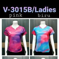 baju kaos badminton 3015b ladies biru dan pink