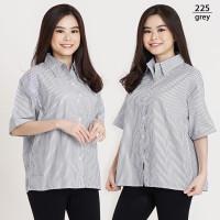 Kemeja Jumbo Wanita LD 120 Motif Garis Baju Oversize Wanita