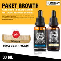 Paket Rank Growth Beard Serum dan Peo + Jojoba Masbrews Beard Oil