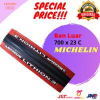 Michelin Lithion 3 Ban Luar Sepeda 700 x 23 C Kevlar Merah