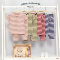 Mooi Setelan Anak Unisex Stripes Button Set