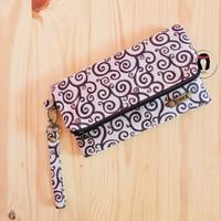 Chocolate Branch Linen Canvas Foldover Purse Dompet Lipat Linen Kanvas