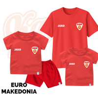 Setelan Baju Kaos Sepak Bola Euro Timnas Makedonia Bayi Sampai Remaja