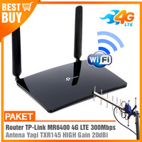 Paket Router Modem WIFI 4G LTE TPLINK MR6400 & Antena Yagi Grid 25dBi