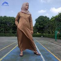 Muslimore - Baju Gamis Wanita Warna Khaki Pemda Balotelli Syari Murah - M
