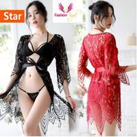 Fashionangel sexy lingerie seksi baju tidur bohemian 1001 hitam - Hitam