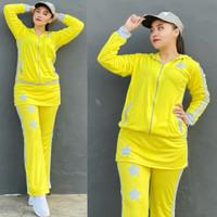 Baju Senam Aerobik Setelan Olahraga Muslimah Rok Bintang Kuning Abu