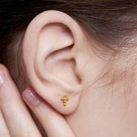 Cross - Anting Studs Perak 925 Silver 18k Gold Plated Earring
