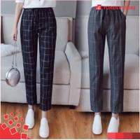 Celana Baggy Tartan Bagy Doty Pants Wanita Motif Kotak Fit L Panjang