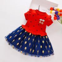 Dress love cherry 1-5 tahun / dress anak perempuan gaun anak baju baby - Merah, M
