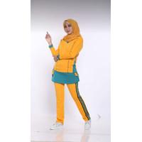 BS12- Baju Senam Wanita Stelan Muslim Rok Kantong / Kuning tosca - kuning tosca, L