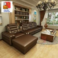 Sofa Minimalis - Letter L - Brown - Sofa Ruang Tamu Modern - Kulit