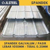 ATAP SPANDEK / SPANDEK PASIR tebal 0.35mm lebar efektif 1050mm FULL - GALVALUM Polos