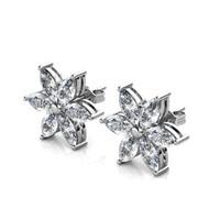 Petal Flower Earrings - Anting Crystal by Her Jewellery - White Gold