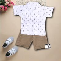 Wirles Setelan Motif Jangkar Baju Anak Laki-laki Usia 1-5 Tahun - Putih, XS