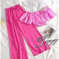 ONNIEFASHION Stelan Sabri Square Setelan Atasan Celana Wanita - Pink