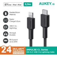 Aukey Cable CB-CL3 Black 0.9M MFI USB C to Lightning Braided - 500820