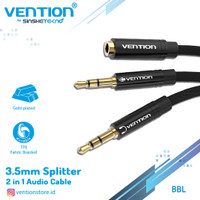 Vention Kabel Aux Audio Splitter 3.5mm Female to 2 Male 3.5mm