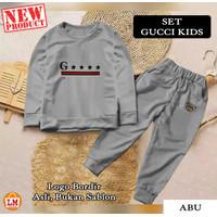 LM 20838 Baju Setelan Pakaian Olahraga Anak Perempuan GCI KIDS Bordir - Abu-abu, S