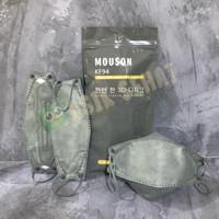 ( Mouson ) Masker KF94 model korea 4ply isi 10 pcs TS ( Tali Sewarna ) - Abu-abu