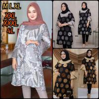 Baju Batik Wanita Tunik Batik Jumbo Tunik Batik 5L ld124 - Coklat Garis, M