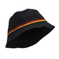 Topi Bucket Hat BucketHat Mancing KPOP Putih List Bendera Jerman Hitam - Hitam JERMAN