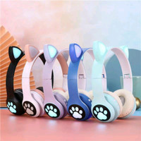 Headset Bando Gaming Bluetooth Headphone LED Cat Ear VZV 23 Super Bass