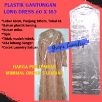 Plastik Laundry Gamis Gaun Dress 60x185 - Cover Gantungan Baju Londry