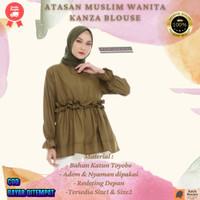 Baju Muslim Wanita Atasan Wanita Blouse Lengan Panjang Terbaru - Olive, Size 2 (L-XL)