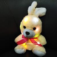 Boneka Binatang Animal Kelinci Rabbit Nyala Lampu Krem Pita Merah