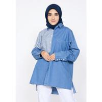 Atasan Wanita Muslim Fit XL ZAHRA SIGNATURE Tunik Denim Jillian - LIGHT BLUE