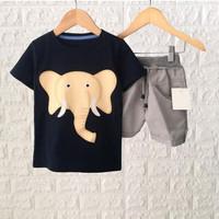 Wirles Setelan Baju Anak Cowok Motif Gajah Usia 1-6 Tahun