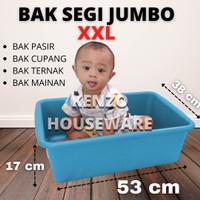 Litter Box Pasir Kucing Baskom Bak Segi Jumbo Taiwan Hidroponik XXL - Biru