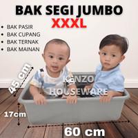 Litter Box Pasir Kucing Baskom Bak Segi Jumbo Taiwan Hidroponik XXXL - Abu-abu