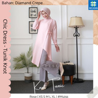 Tunik Panjang Baju Atasan Wanita Muslim Muslimah Modern Long Dress Kno - Broken White, XS