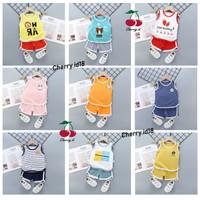 ( 0-3th) COD Setelan Baju Oblong Anak / Setelan Kaos Tanpa Lengan Bayi