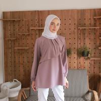 Baju Atasan Wanita Tangan Panjang Polos Ghania Blouse Muslim Terbaru - Lavender, XL