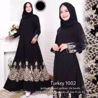 baju busana muslim abaya Gamis Couple Arab Hitam Bordir turkey 1002