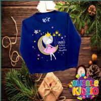 Kaos/ Baju Anak Perempuan Lengan Panjang Motif Dream navy 1-10 Tahun