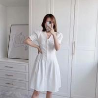 Dress Wanita Premium Import White Sweet Collar - S