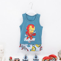 Setelan Baju Kutung Singlet Anak Laki-laki/Perempuan Gambar Robot