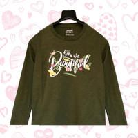 Baju Kaos Anak Perempuan Cewek Lengan Panjang Branded - Army A, Size 10 (9-10T)